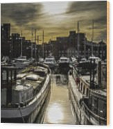 London. St. Katherine Dock. Into The Sun. Wood Print