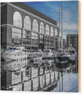 London. St. Katherine Dock. Reflections. Wood Print