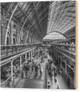 London St Pancras Station Bw Wood Print