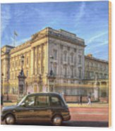 London Taxi And Buckingham Palace  Wood Print