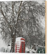 London Telephone Box Wood Print