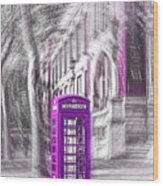 London Telephone Purple Wood Print