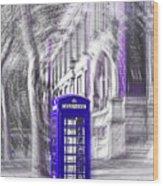 London Telephone Purple Blue Wood Print