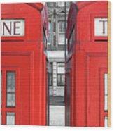 London Telephones Wood Print by Richard Newstead