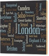 London Text Map Wood Print