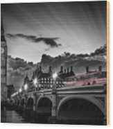 London Westminster Bridge At Sunset Wood Print
