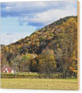 Lone Barn Fall Color Wood Print
