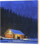 Lone Cabin In The Rockies Wood Print