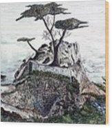 Lone California Tree Wood Print