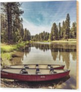 Lone Canoes, Winchester Lake Wood Print