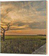 Lone Cedar Dock Sunset - Dewees Island Wood Print