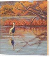 Lone Crane Still Water Wood Print