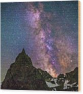 Lone Eagle Peak Dancing In The Milky Way Wood Print
