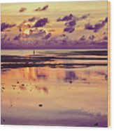 Lone Fisherman In Distance During Beautiful Reflected Sunset With Dramatic Clouds In Maldives Wood Print