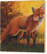 Lone Fox Wood Print