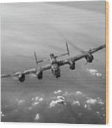 Lone Lancaster Black And White Version Wood Print