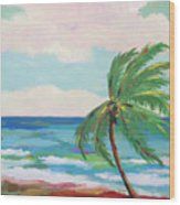 Lone Palm On The Beach Wood Print