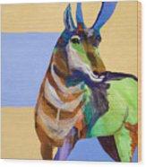 Lone Pronghorn Wood Print