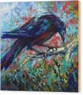 Lone Raven Wood Print
