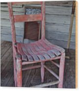 Lone Red Chair Wood Print