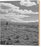 Lone Rider West Of Taos Wood Print