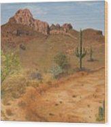 Lone Saguaro In Desert Wood Print