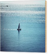 Lone Sailboat At Dawn Wood Print