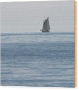 Lone Ship At Sea Wood Print