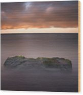 Lone Stone At Sunrise Wood Print
