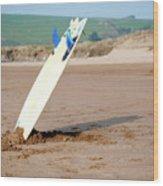 Lone Surfboard Wood Print