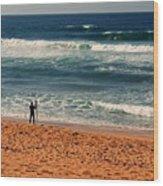 Lone Surfer Wood Print