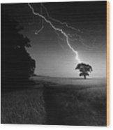 Lone Tree And Lightning Wood Print