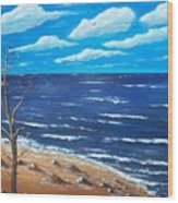Lone Tree Seascape Wood Print