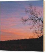 Lone Tree Sunset Wood Print