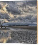 Lone Tree Under Moody Skies Wood Print