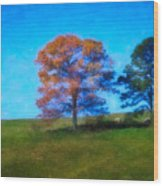 Lone Trees Painting Wood Print