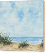 Lonely Beach Wood Print