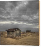 Lonely Beach Shacks Wood Print by Evelina Kremsdorf