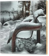 Lonely Bench In Snowfall Wood Print