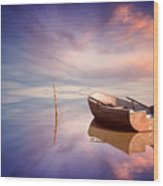 Lonely Boat And Amazing Sunset At The Sea Wood Print