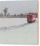 Lonely Caboose Wood Print