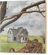 Lonely Farm Wood Print