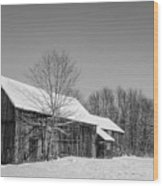 Lonely Grey Barn Wood Print
