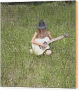 Lonely Guitar Two Wood Print