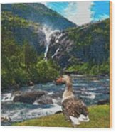 Lonely Near The Waterfall 1 Wood Print