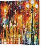 Lonely Night 3 - Palette Knife Oil Painting On Canvas By Leonid Afremov Wood Print