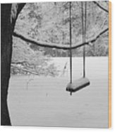 Lonely Winter Swing Ipswich Ma Wood Print