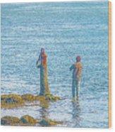 Lonesome Angler Wood Print