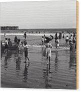 Long Beach California Bathers C. 1910 Wood Print