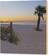Long Beach Sunrise - Mississippi - Beach Wood Print